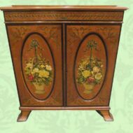 Antique Satinwood bookcase with painted decoration 1