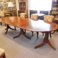 Cross-banded 3 pillar mahogany dining table