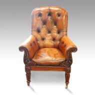 William IV mahogany leather button-back reading easy chair