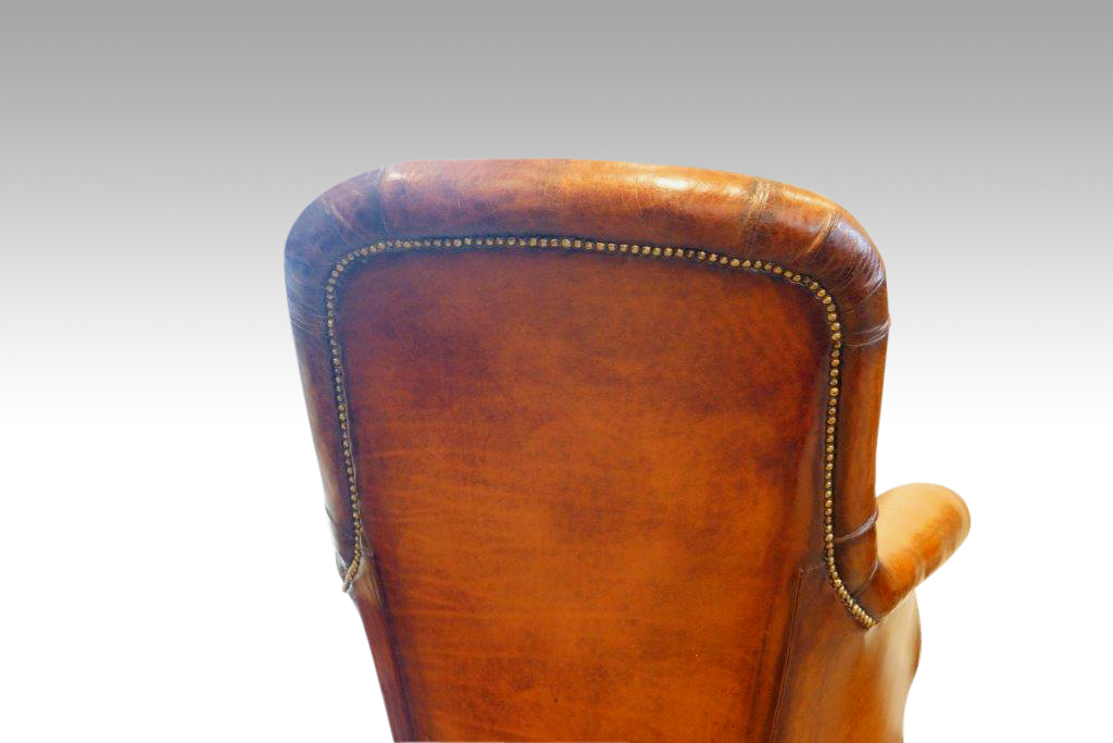 William IV Mahogany Leather Button Back Reading Easy Chair. Prev