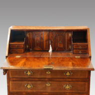 George III walnut bureau interior