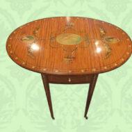 Edwardian,painted,satinwood,oval,Pembroke,table