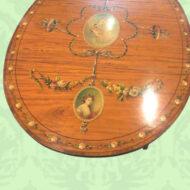 Edwardian,painted,satinwood,oval,Pembroke,table,flap