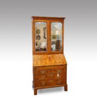 George I walnut bureau-bookcase