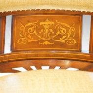 Edwardian inlaid mahogany desk chair inlay detail