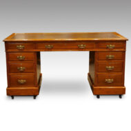 Edwardian large oak pedestal desk