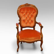 Victorian open-arm button-back chair