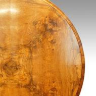 Victorian burr walnut circular dining table top up