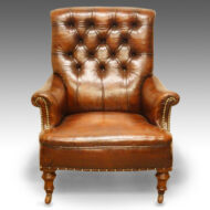 Victorian leather button-back reading chair
