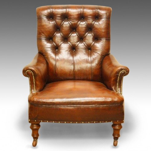 Genial Victorian Leather Button Back Reading Chair