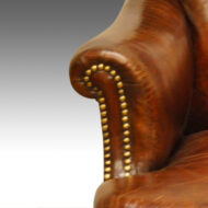 Victorian leather button-back reading chair arm