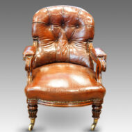 William IV mahogany leather reading chair