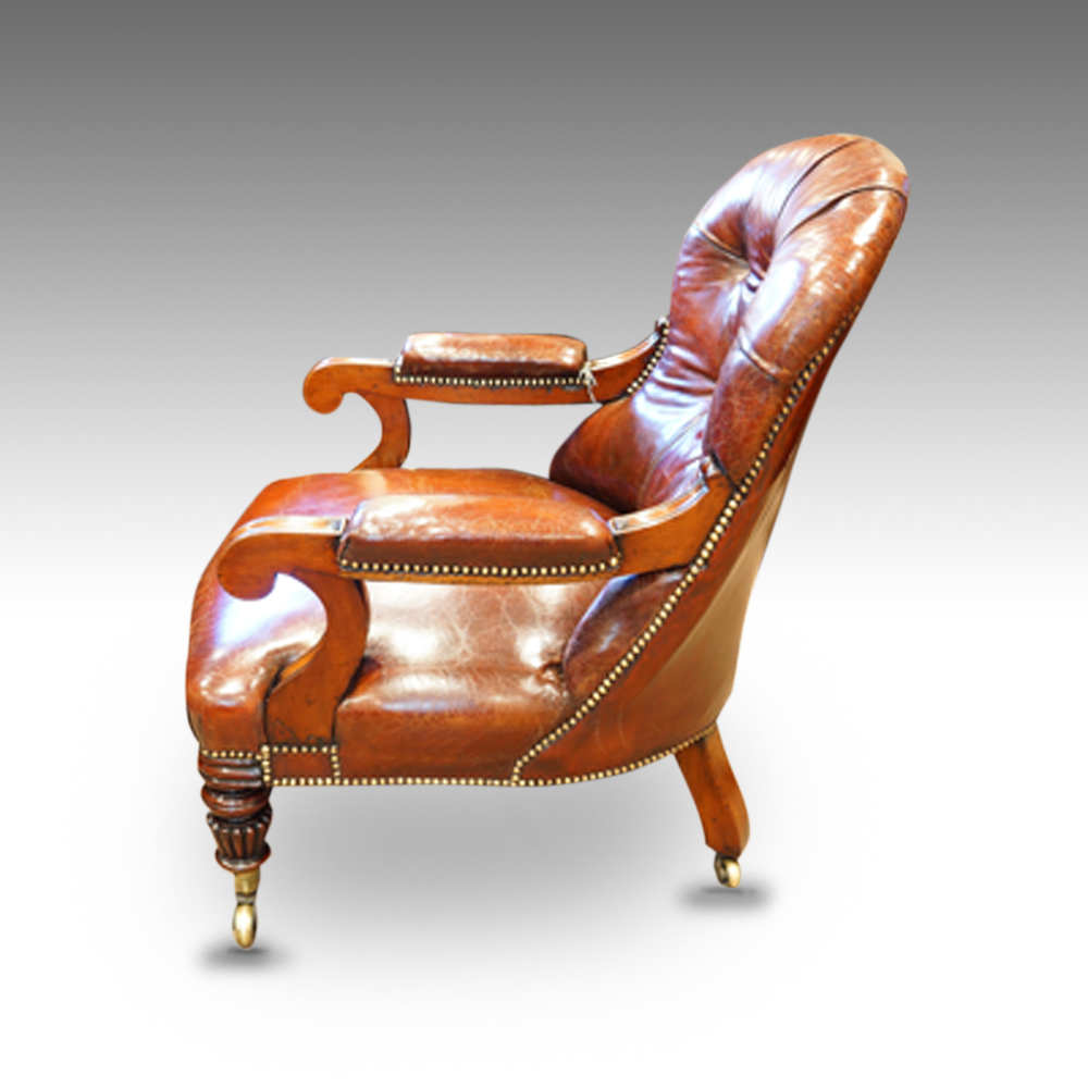 William IV Mahogany Leather Reading Chair Now Sold   Hingstons Antiques  Dealers