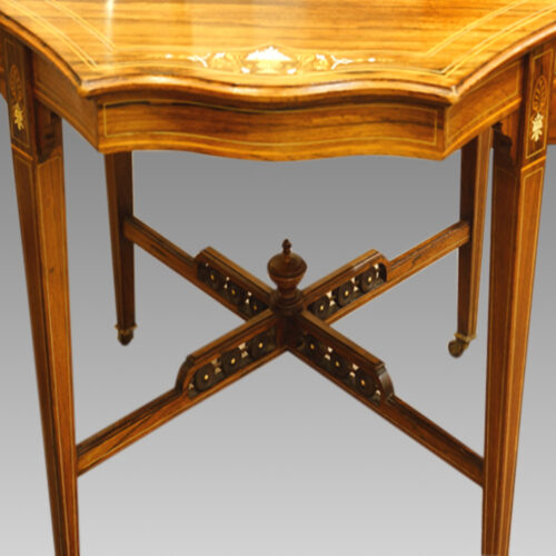 Victorian inlaid rosewood shaped centre table
