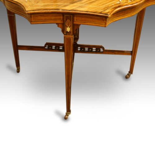 Victorian inlaid rosewood shaped centre table leg detail