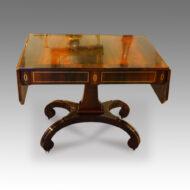 Regency brass inlaid sofa table on scroll feet,1