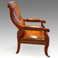 Regency mahogany sabre leg library chair,1