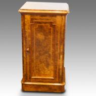 Victorian inlaid walnut bedside cabinet
