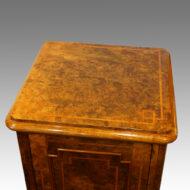 Victorian inlaid walnut bedside cabinet,1