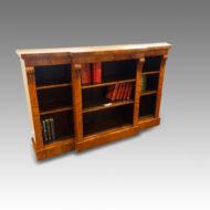 Victorian walnut break-front open bookcase
