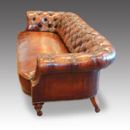 Victorian walnut button-back leather Chesterfield,1
