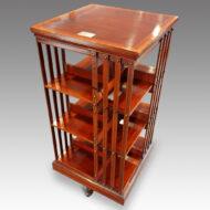Edwardian inlaid mahogany 3 tier revolving bookcase