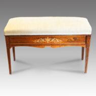 Edwardian inlaid rosewood duet stool