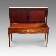 Edwardian inlaid rosewood duet stool interior