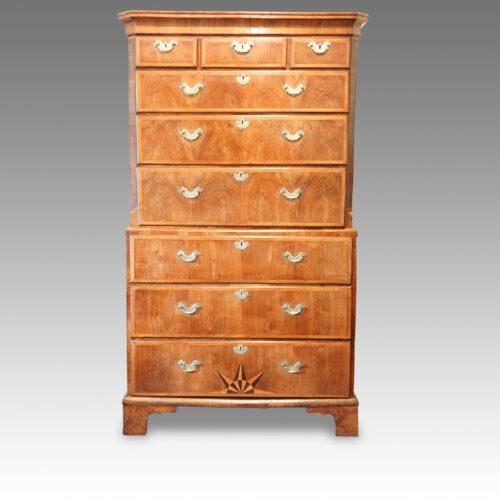 George III walnut chest on chest with sunburst inlay