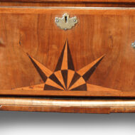 Antique walnut tallboy inlaid sunburst