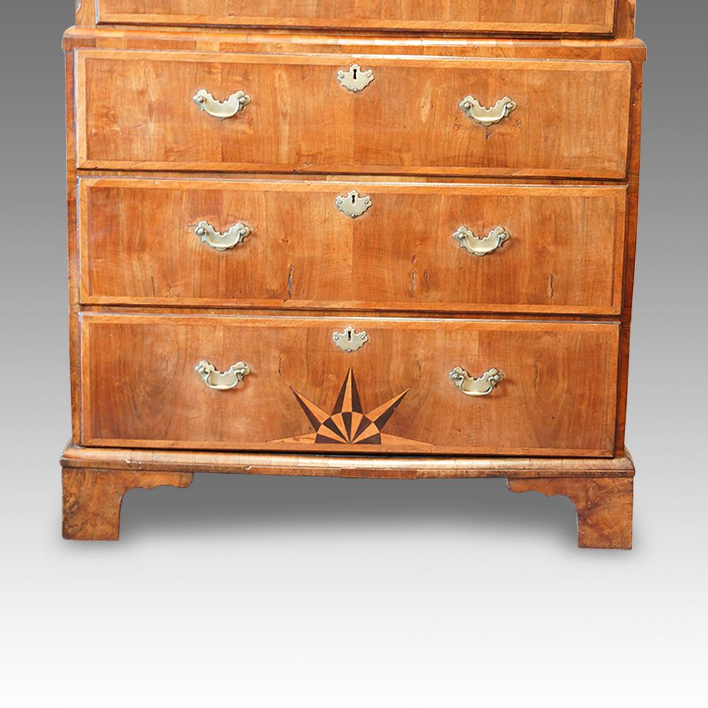 buy online b0e69 c15d5 George III walnut chest on chest with sunburst inlay
