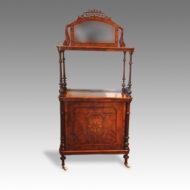 Victorian inlaid walnut music cabinet whatnot