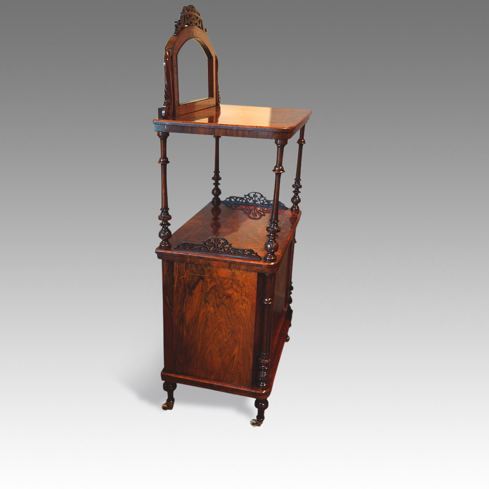Victorian inlaid walnut music cabinet whatnot - Hingstons Antiques ...