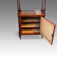 Victorian inlaid walnut music cabinet whatnot interior
