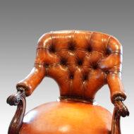 Antique desk chair button back