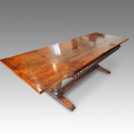 Antique oak refectory draw-leaf dining table