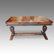 Antique oak refectory draw-leaf dining table side view