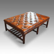 Large leather coffee table stool