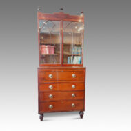 Regency inlaid mahogany secretaire bookcase front