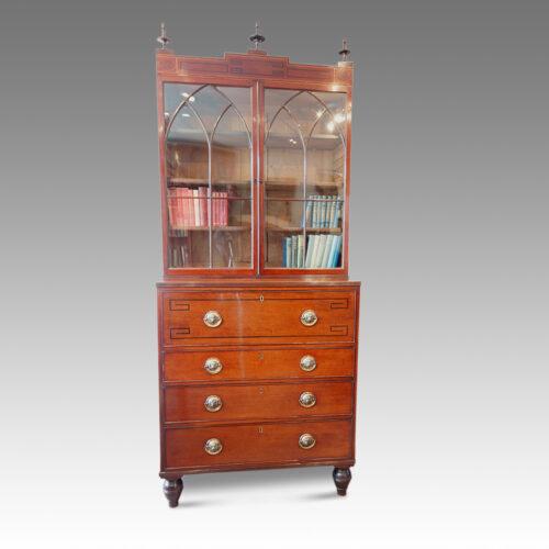 Regency inlaid mahogany secretaire bookcase front