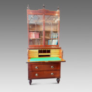 Regency inlaid mahogany secretaire bookcase