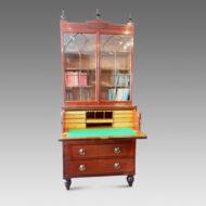 Regency inlaid mahogany secretaire bookcase