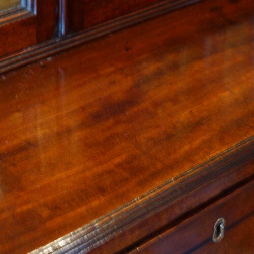 Regency inlaid mahogany secretaire bookcase 1