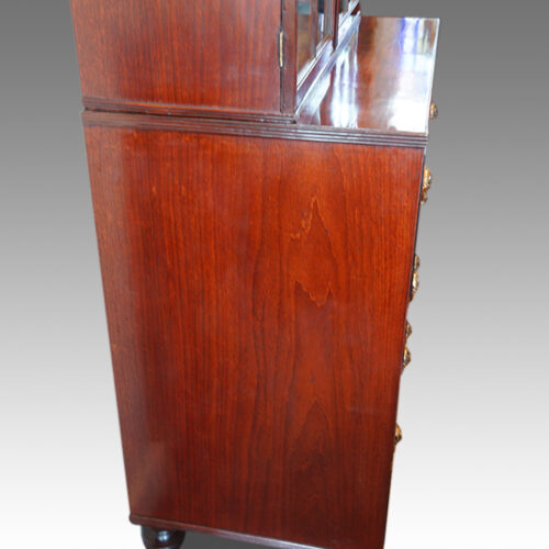 Regency inlaid mahogany secretaire bookcase side