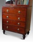Regency inlaid mahogany secretaire bookcase base