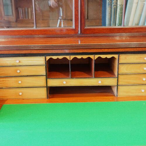 Regency inlaid mahogany secretaire bookcase interior