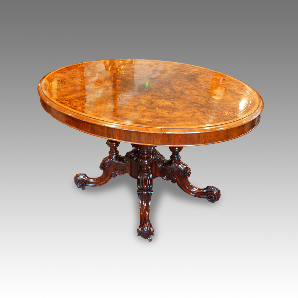 Victorian inlaid walnut oval dining table Hingstons  : Victorian oval inlaid dining table from www.hingstons-antiques.co.uk size 1000 x 1000 jpeg 352kB