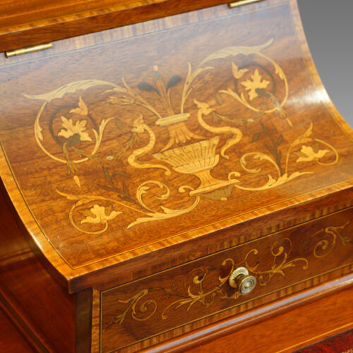 Edwardian inlaid mahogany writing desk stationary box lid