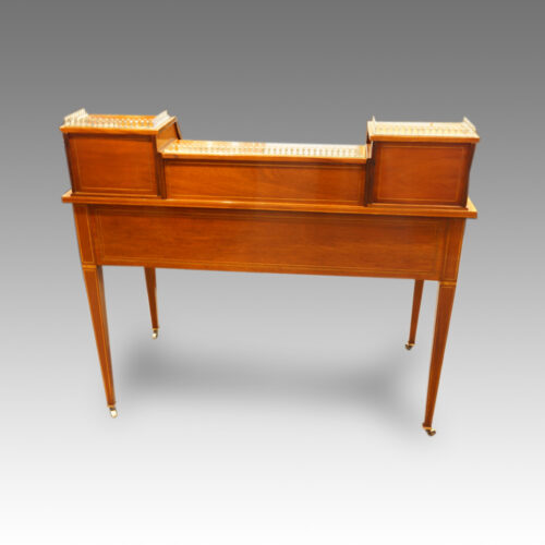 Edwardian inlaid mahogany writing desk rear