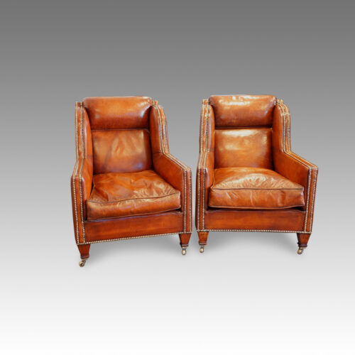 Pair Of Edwardian Leather Club Chairs Hingstons Antiques